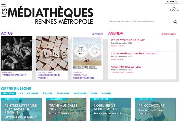 Capture du site des médiathèques de Rennes Métropole